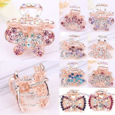 1PC Colorful Crystal Bowknot Flower Peacock Butterfly Hair Claw Clip Clamp Small