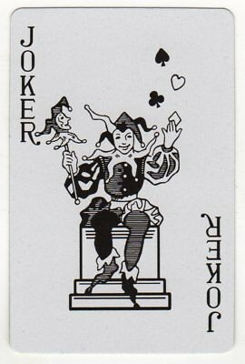 Single Joker Playing Card - Jester on Throne (bw)