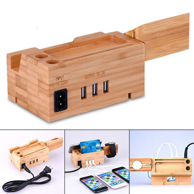 Bamboo Wood Charging Station Charger Dock Stand Holder 3 USB For iPhone Android