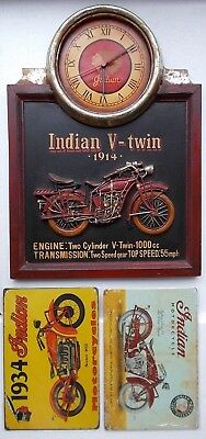 """Vintage Indian Motorcycles """"V-Twin 1914"""" 3D Wooden Clock + 2 Plaques - motorbike"""
