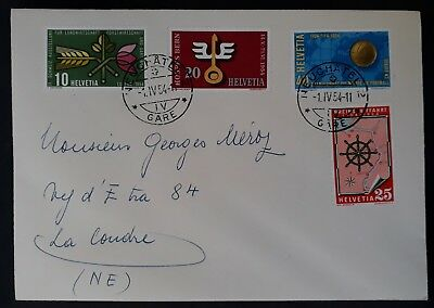 1954 Switzerland Cover ties set of 4 Events stamps cancelled Neuchatel