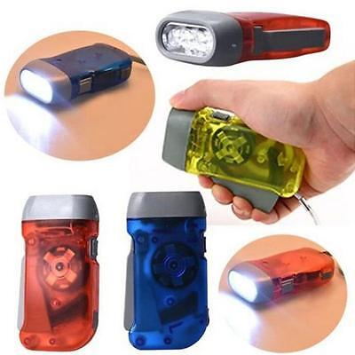 4 Colors 3 LED Dynamo Wind Up Flashlight Hand-pressing Crank No Battery Torch