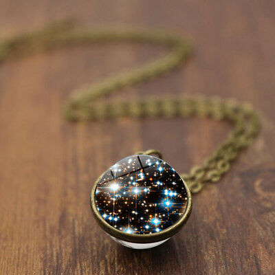 Retro Galaxy Glass Pendant Necklace Glow In The Dark Star Universe Choker Newly