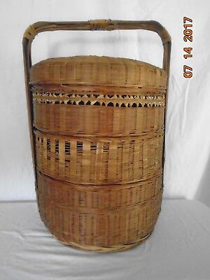 Chinese Wedding Basket 3 Tier Stacked Woven wicker Stacking Baskets