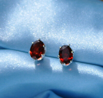 6Mm X 4Mm Oval Intense Red Mozambique Garnet  .925 Sterling Silver Studs