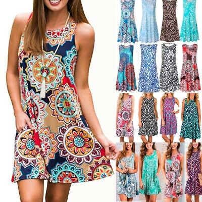 AU Boho Womens Floral Summer Sundress Ladies Loose Casual Beach Dress Plus Size