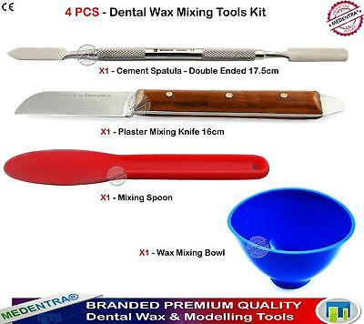 4Pcs/Set Dental Plaster Knife Waxing Carving Tools Lab Mixing Spoon Bowl Spatula