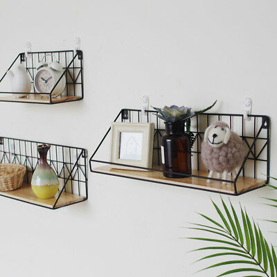 Wall Mounted Hanging Shelf Storage Holder Rack Wooden Iron Bedroom Home Organiza