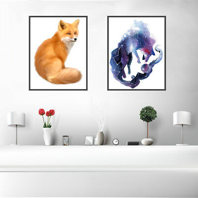 Starry Fox Canvas Art Painting Poster Print Bedroom Wall Picture Home Decor Gift
