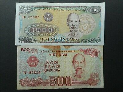 Vietnam 200,500,1000 Dong 1987-1988 (Lot of 3 Banknotes)
