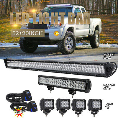 52inch +20'' Led Work Light Combo Bull Bar Driving Offroad Tractor 4WD SUV UTE