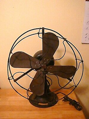 """Antique Large 17"""" Brass Blades General Electric Table Skeletal Fan, 25lbs."""