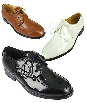Boys Patent Laces Smart Formal Shoes Black White Tan Brown for Wedding Communion