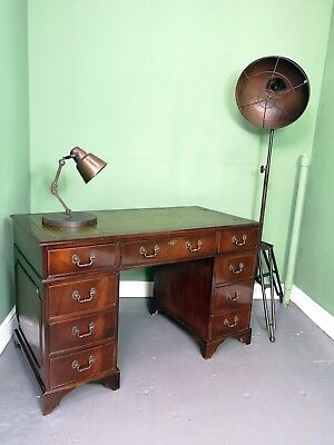 An Antique Style Leather Topped Twin Pedestal Desk~Delivery Available~
