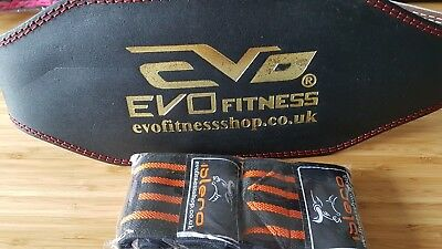 "EVO Fitness 6"" Pure Leather Weight Lifting Gym belts Back Support Wraps Medium"