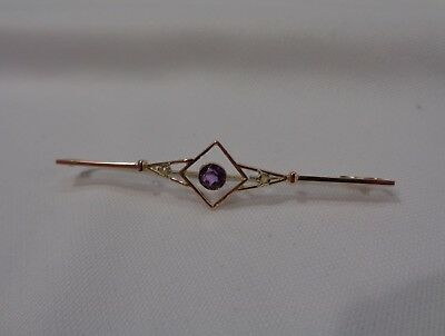 Antique Art Deco Amethyst and Seed Pearl Bar Brooch 9ct Rose Gold - 64 mm Long