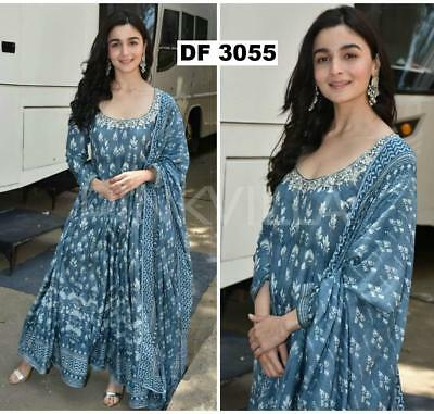 BOLLYWOOD Alia Bhatt indigo Suit Kurta beautiful Kurti kameez ethnic party wear