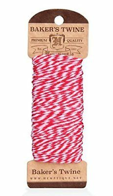 Hemptique 4 ply 1mm Red and White Cotton Bakers Twine -  100 feet