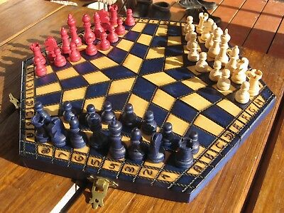 Chess Set For Three Players Hand Made Wooden 32 x 28 Figures Woodeeworld
