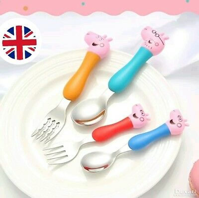 *UK*Boxed Peppa Pig Stainless Steel 4 pc Dining Set Toddler Baby Spoon Fork Gift