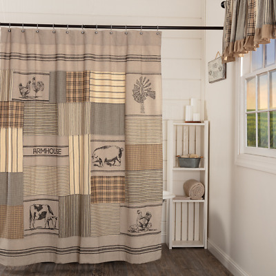 SAWYER MILL CHARCOAL STENCILED PATCHWORK Shower Curtain Farmhouse Animal VHC