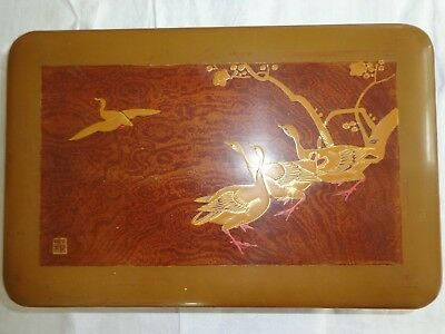 Old Japanese lacquer box with birds and foliage