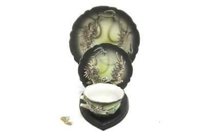 Vintage Black And White Dragonware Lithophane Demitasse Cup Saucer Plate Japan