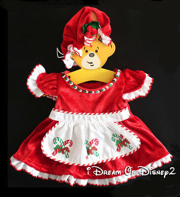 Build-A-Bear MRS SANTA CLAUS RED DRESS/HAT Candy Canes Teddy CHRISTMAS Clothes