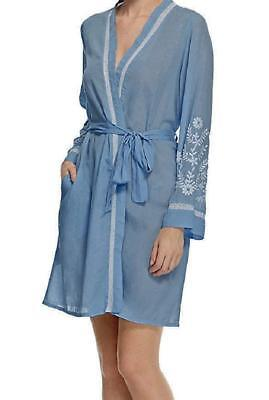 Ladies Famous Make Embroidered Dressing Gown / Robe. Blue/White. Sizes 10-20.