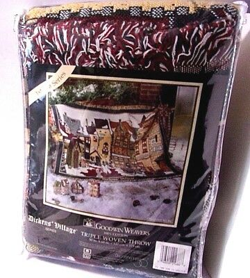 Christmas Throw NEW Dept 56 Dickens Village Goodwin Weavers 1st Winter 50 x 68