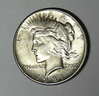 Choice AU 1921 Peace Silver Dollar Premium Quality About Uncirculated (12-418)