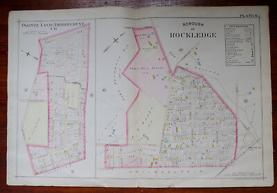 1897 MAP of BOROUGH of ROCKLEDGE & JENKINTOWN MONTGOMERY CO PA