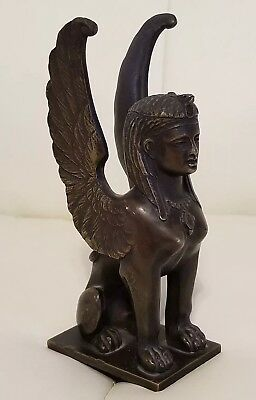 Vintage Solid Brass Bronze Egyptian Sphinx Winged Figure Figurine Collectible