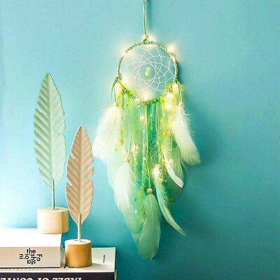 NEW Dream Catcher with Feathers Car Wall Hanging Decor Light Ornament Handmade