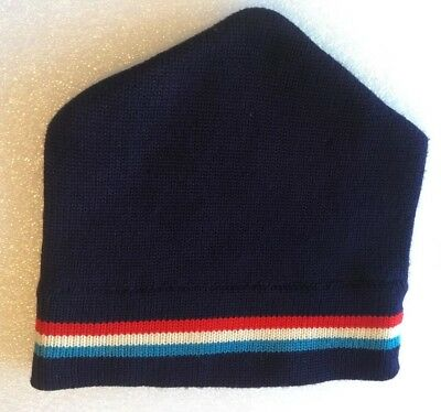 M Vintage 1970s WIGWAM Made In USA 100% Wool SKI HAT Red WHITE Navy SKY Blue