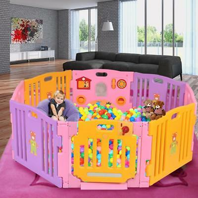 Foldable Baby Playpen 8 Large Panel Kids Safety Play Center Room Divider In Pink