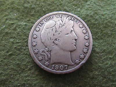 1907 O Barber Half Dollar New Orleans Mint 50 Cent Silver Coin