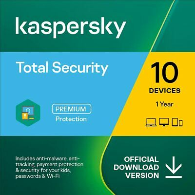 Kaspersky Total Security 2020 for 10 PC / Devices 1 Year Download Key Emailed EU