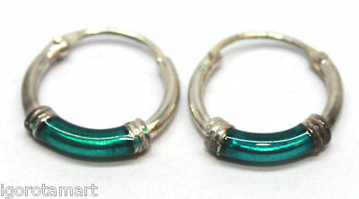 Oxidized Thai Sterling Silver Small Top Hinged UV Tube Hinged Hoop Earrings Pair