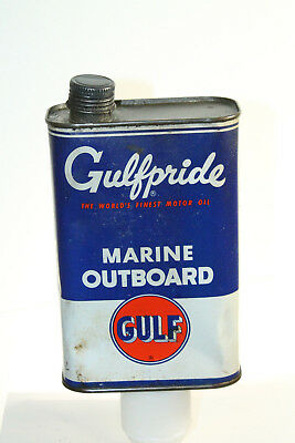 Vintage Gulfpride Marine Outboard Tin Oil Can Gulf Quart Empty