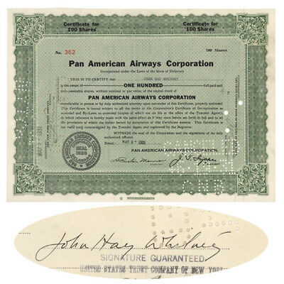 Pan American Airways Stock Signed By John Hay Whitney