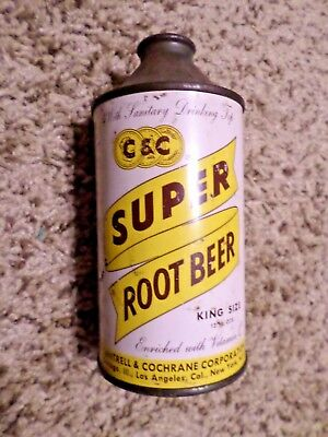 Vintage C & C Super Root Beer Cantrell & Cochrane Cone Top Soda Pop Can
