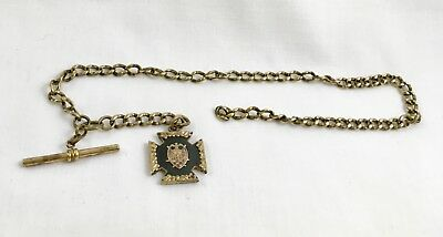 Vintage Order of DeMolay Watch Fob and Chain ~ Masonic