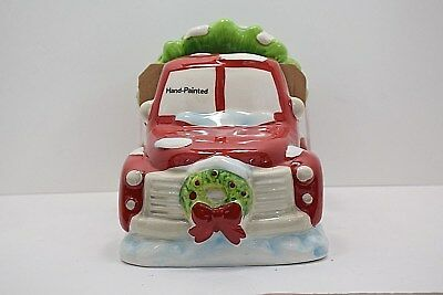 Red Truck Cookie Jar with Christmas Tree Lid Retro Ceramic Hand Painted New