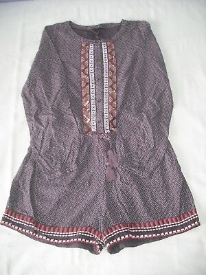 Next girls brown patterned long sleeve playsuit 10 years vgc