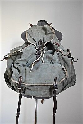 Reconditioned Vintage Swedish Surplus Post m39 Leather and Canvas Backpack