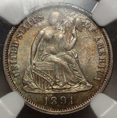 1891 Seated Liberty Dime, Choice Uncirculated NGC/CAC MS-64, With Color!!