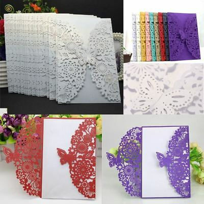 12pcs Wedding Invitation Card Personalized Laser Cut Romantic Party Floral Lace