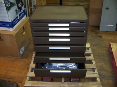 67089e5a0e5 Kennedy Mfg. 7 Drawer Rolling Tool Cabinet w Wheels   Handle Brown w  Keys