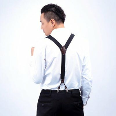 Men 4 Clips Suspenders Belt Adjustable Jacquard Y-back Suspenders For Pants DA